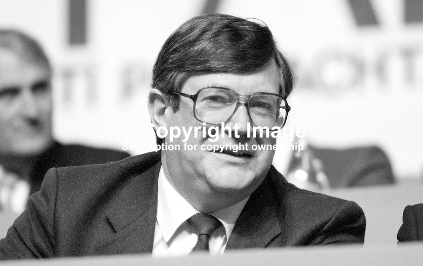 Ray Burke, TD, Fianna Fail, Minister for Energy &amp; Communications, Rep of Ireland, platform, Ard Fheis, 19880203RB2.<br /> <br /> Copyright Image from Victor Patterson, 54 Dorchester Park, Belfast, UK, BT9 6RJ<br /> <br /> t: +44 28 90661296<br /> m: +44 7802 353836<br /> vm: +44 20 88167153<br /> e1: victorpatterson@me.com<br /> e2: victorpatterson@gmail.com<br /> <br /> For my Terms and Conditions of Use go to www.victorpatterson.com