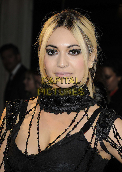 Zara Martin.The WGSN Global Fashion Awards, Savoy Hotel, The Strand, London, England..November 5th, 2012.headshot portrait eyeshadow make-up gothic black lace beads beaded scarf  .CAP/CAN.©Can Nguyen/Capital Pictures.