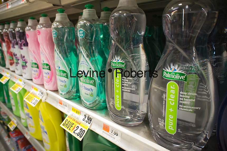 """Bottles of Palmolive dishwashing liquid soap, including their """"pure and Clear"""" brand, on a supermarket shelf are seen on Tuesday, July 31, 2012. . (© Richard B. Levine)"""