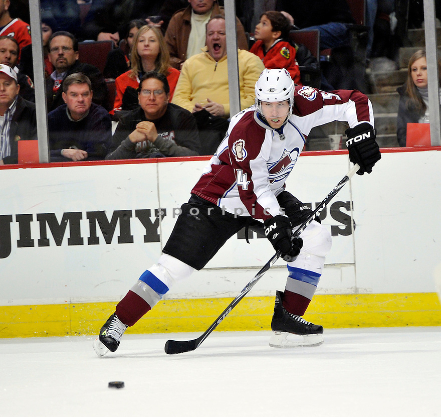 DAVID JONES,  of the Colorado Avalanche in action  during the Avalanche game against the Chicago Blackhawks at the United Center in Chicago, IL.  The Colorado Avalanche beat the Chicago Blackhawks 4-3 in Chicago, Illinois on December 15, 2010....