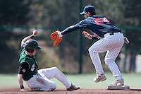 11 April 2010: Quentin Becquey of Rouen is seen on first base during game 1/week 1 of the French Elite season won 5-1 by Rouen over Montigny, at the Cougars Stadium in Montigny le Bretonneux, France.