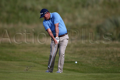 July 16th 2017, Royal Birkdale Golf Club, Southport, England ; First practice day of the 146th Open Championship ; Jason Dufner (USA) hits an iron shot to the green on the 11th hole during  his practice round