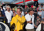 "Robert ""Hoot"" Gibson waves to the crowd after winning the Unlimited Championship during the National Championship Air Races at the Reno-Stead Airfield Sunday, Sept. 20, 2015."