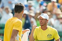 March 4, 2016: Lleyton Hewitt captain of the Australian team reacts after Bernard Tomic broke the serve of Jack Sock of USA during match two of the BNP Paribas Davis Cup World Group first round tie between Australia and USA at Kooyong tennis club in Melbourne, Australia. Tomic won in 4 sets. Photo Sydney Low