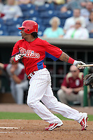 Philadelphia Phillies Michael Martinez #19 during a scrimmage vs the Florida State Seminoles  at Bright House Field in Clearwater, Florida;  February 24, 2011.  Philadelphia defeated Florida State 8-0.  Photo By Mike Janes/Four Seam Images