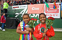 Portland, Oregon - Sunday October 2, 2016: The Girls Inc Girls of the Game during a semi final match of the National Women's Soccer League (NWSL) at Providence Park.