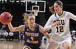SIOUX FALLS, SD - MARCH 6:  Ciara Marlow #4 of Western Illinois dribbles past Dorottya Balla #12 of Oral Roberts in the 2016 Summit League Tournament. (Photo by Dick Carlson/Inertia)