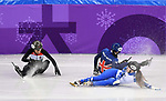 Petra Jaszapati (HUN, 11), Emina Malagich (OAR, 93) and Charlotte Gilmartin (GBR) crash. Womens 500m. Short track. Gangneung ice arena. Pyeongchang2018 winter Olympics. Gangneung. Republic of Korea. 10/02/2018. ~ MANDATORY CREDIT Garry Bowden/SIPPA - NO UNAUTHORISED USE - +44 7837 394578