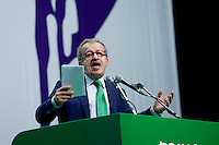 Milano: Roberto Maroni tiene il suo discorso al congresso federale della Lega Nord..Roberto Maroni è stato eletto nuovo segretario della Lega Nord..Milan: Roberto Maroni speaks to the assembly during the Federal Congress of  Northern League..Roberto Maroni was elected as new Secretary party leader of Northern League.