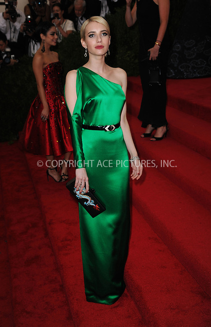 WWW.ACEPIXS.COM<br /> <br /> May 4 2015, New York City<br /> <br /> Actress Emma Roberts attending the Costume Institute Benefit Gala celebrating the opening of China: Through the Looking Glass at the Metropolitan Museum of Art on May 4 2015 in New York City.<br /> <br /> <br /> Please byline: Kristin Callahan/ACE Pictures<br /> <br /> ACE Pictures, Inc.<br /> www.acepixs.com, Email: info@acepixs.com<br /> Tel: 646 769 0430