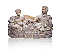 Etruscan cinerary, funreary, urn cover depicting a husband and wife,  from the Padata Necropolis, Chianciano, end of 5th century B.C., inv 94352 National Archaeological Museum Florence, Italy , white background