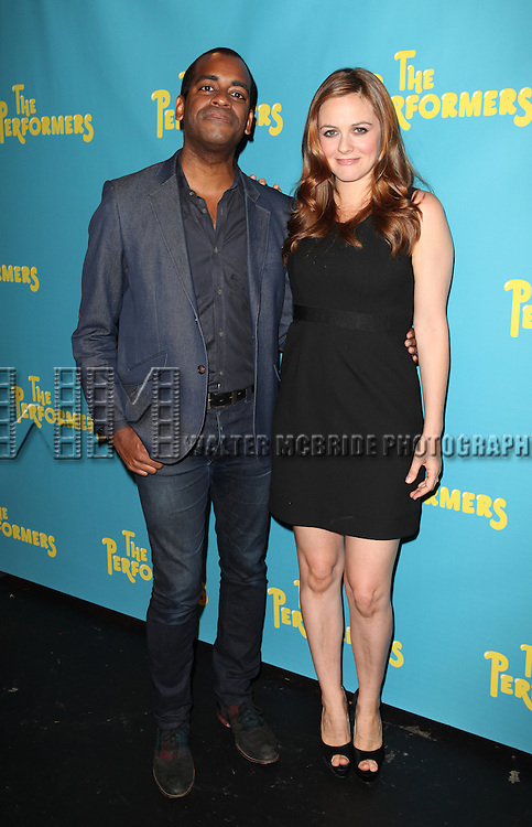 "Actor Daniel Breaker and actress Alicia Silverstone attends press event to introduce the cast and creators of the new Broadway play ""The Performers""at the Hard Rock Cafe on Tuesday, Sept. 25, 2012 in New York. (Photo by © Walter McBride/WM Photography//AP)"