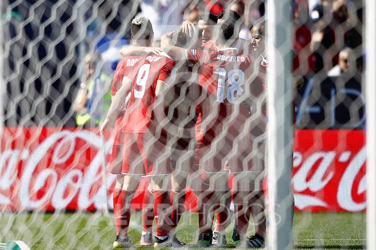 Sevilla FC's players celebrate goal during La Liga match. October 15,2016. (ALTERPHOTOS/Acero)