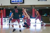 STANFORD, CA - December 30, 2017: Eric Beatty, Evan Enriques, Kevin Rakestraw, Jaylen Jasper at Burnham Pavilion. The Stanford Cardinal defeated the Calgary Dinos 3-1.