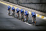 Deceuninck-Quick Step in action during Stage 2 of the 2019 Tour de France a Team Time Trial running 27.6km from Bruxelles Palais Royal to Brussel Atomium, Belgium. 7th July 2019.<br /> Picture: ASO/Pauline Ballet | Cyclefile<br /> All photos usage must carry mandatory copyright credit (© Cyclefile | ASO/Pauline Ballet)