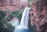 Havasu Falls drops 100 feet in to a pool in northern Arizona,s Havasupai Indian Reservation