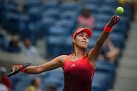 Ana Ivanovic of Serbian servers to Dominika Cibulkova of Slovak during their match at the Arthur Ashe stadium during the US Open 2015 Tennis Tournament in New York. 08.31.2015.  Eduardo MunozAlvarez/VIEWpress.
