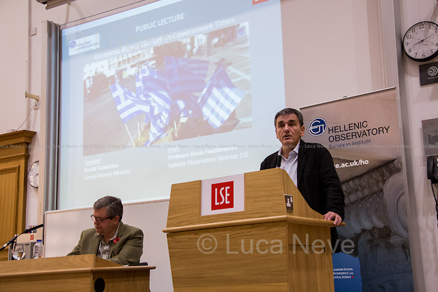 London, 10/11/2015. Today, the LSE (London School of Economics and Political Studies) presented a public lecture - part of the LSE Hellenic Observatory public lecture - called &quot;Economic Blues: The Left in Government Times&quot; hosted by Euclid Tsakalotos (Greek Minister of Finance; Syriza Politician; left-wing Greek economist; he has been the Minister of Finance in the Second Cabinet of Alexis Tsipras since 23 September 2015; he previously served as the Minister of Finance in the First Cabinet of Alexis Tsipras from 6 July 2015, following Yanis Varoufakis's resignation, to the 28 August 2015, when a caretaker cabinet was appointed before the September 2015 legislative election; he studied economics at the universities of Oxford and Sussex; he was Professor at the University of Kent, the Athens University of Economics and Business and is currently a professor of economics at the University of Athens). Chair of the event was Professor Kevin Featherstone (Director of the LSE Hellenic Observatory Director). From the event online page: &lt;&lt; What are the prospects of the Left in government after the summer agreement? Can that agreement be incorporated into a political strategy that furthers social justice and a different economic model? Can Greece act as catalyst for wider progressive changes in the Eurozone and the EU?&gt;&gt;.<br />