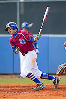 Nate Chong (32) of the Presbyterian Blue Hose follows through on his swing against the High Point Panthers at the Presbyterian College Baseball Complex on March 3, 2013 in Clinton, South Carolina.  The Blue Hose defeated the Panthers 4-1.  (Brian Westerholt/Four Seam Images)