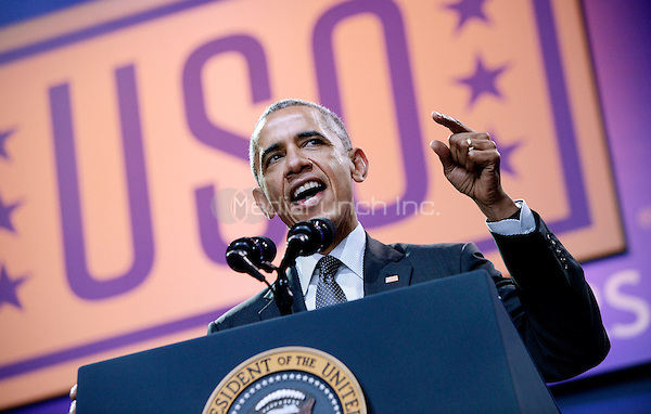 United States President Barack Obama speaks at the kick off of the 5th anniversary of Joining Forces and the 75th anniversary of the USO at Joint Base Andrews on May 5, 2016 in Maryland.<br /> Credit: Olivier Douliery / Pool via CNP/MediaPunch