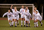 November 13, 2009: Wisconsin Badgers women's soccer team celebrates a victory in a shootout during 1st round of the NCAA tournament against the Arizona State Sun Devils at the McClimon Soccer Complex on November 13, 2009 in Madison, Wisconsin. (Photo by David Stluka)