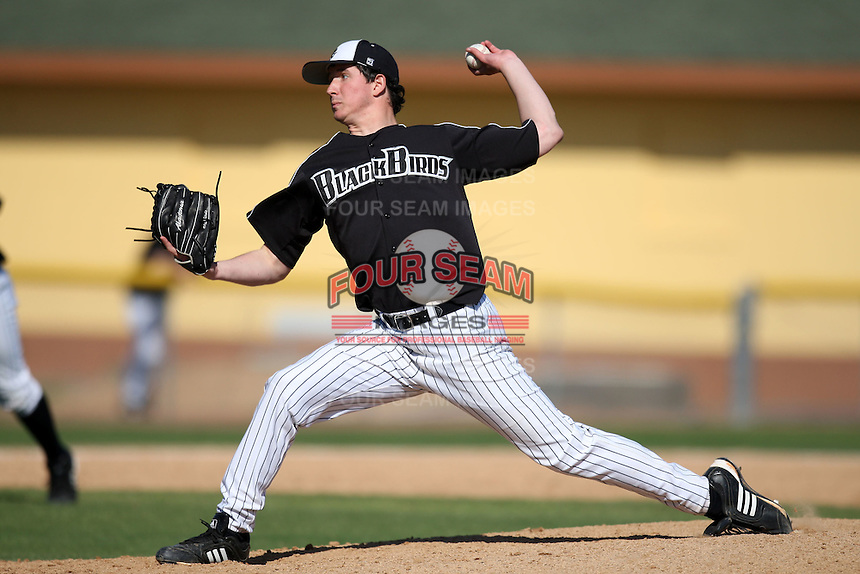 March 13, 2010:  Pitcher Adam Sauter (28) of Long Island University Blackbirds in a game vs. Army at Henley Field in Lakeland, FL.  Photo By Mike Janes/Four Seam Images