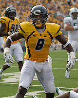 WVU defensive back Keith Tandy. The WVU Mountaineers beat the Marshall Thundering Herd 34-13 in a game called just after the fourth quarter started because of severe thunderstorms in the area. The game was played at Milan Puskar Stadium in Morgantown, West Virginia on September 4, 2011.