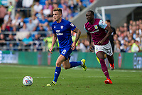 Joe Ralls of Cardiff City and Albert Adomah of Aston Villa during the Sky Bet Championship match between Cardiff City and Aston Villa at the Cardiff City Stadium, Cardiff, Wales on 12 August 2017. Photo by Mark  Hawkins / PRiME Media Images.