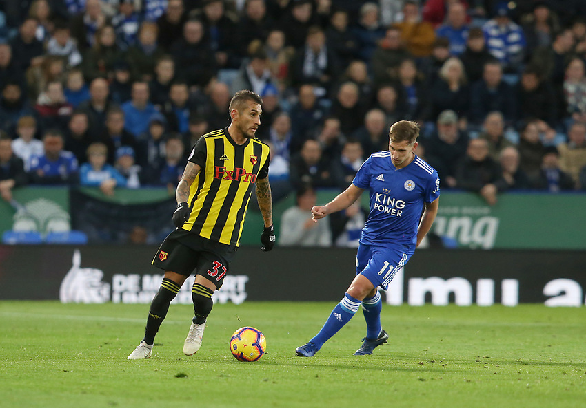 Watford's Roberto Pereyra and Leicester City's Marc Albrighton <br /> <br /> Photographer Stephen White/CameraSport<br /> <br /> The Premier League - Leicester City v Watford - Saturday 1st December 2018 - King Power Stadium - Leicester<br /> <br /> World Copyright © 2018 CameraSport. All rights reserved. 43 Linden Ave. Countesthorpe. Leicester. England. LE8 5PG - Tel: +44 (0) 116 277 4147 - admin@camerasport.com - www.camerasport.com