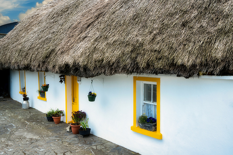 Thatached roof and house front, County Clare, Ireland