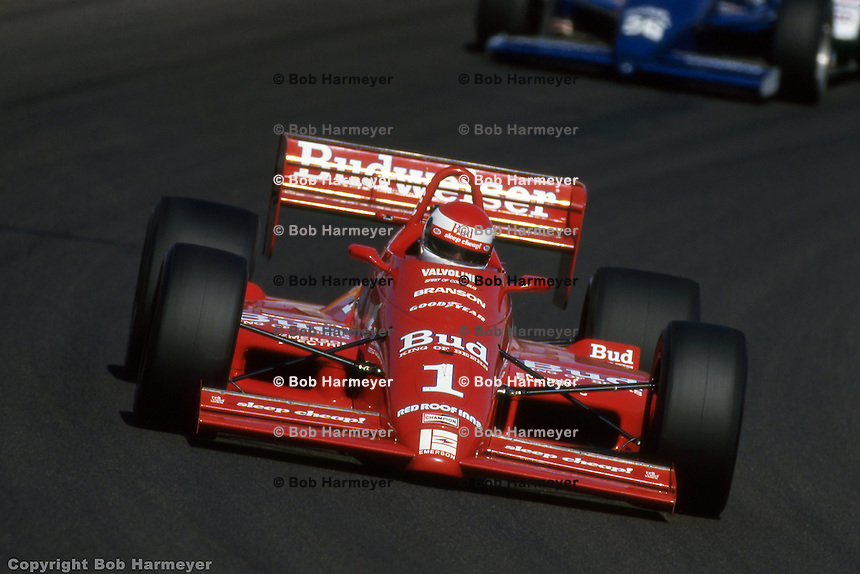 Bobby Rahal drives the Budweiser-sponsored Truesports Lola T88 during the 1988 IndyCar race at Phoenix International Raceway near Phoenix, Arizona.