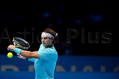 10.11.2013 London, England. Rafael Nadal of Spain (ESP) in action in his men's singles Semi Final match against Roger Federer of Switzerland (SUI) during day seven of the Barclays ATP World Tour Finals at The O2 Arena.