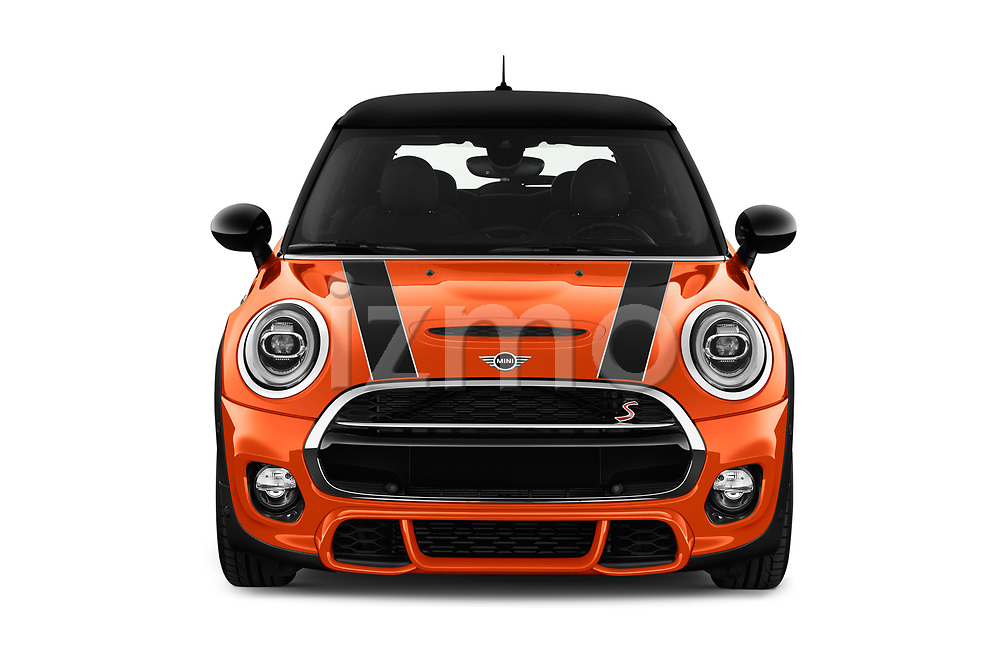 Car photography straight front view of a 2018 MINI Cooper JCW Door Hatchback Front View