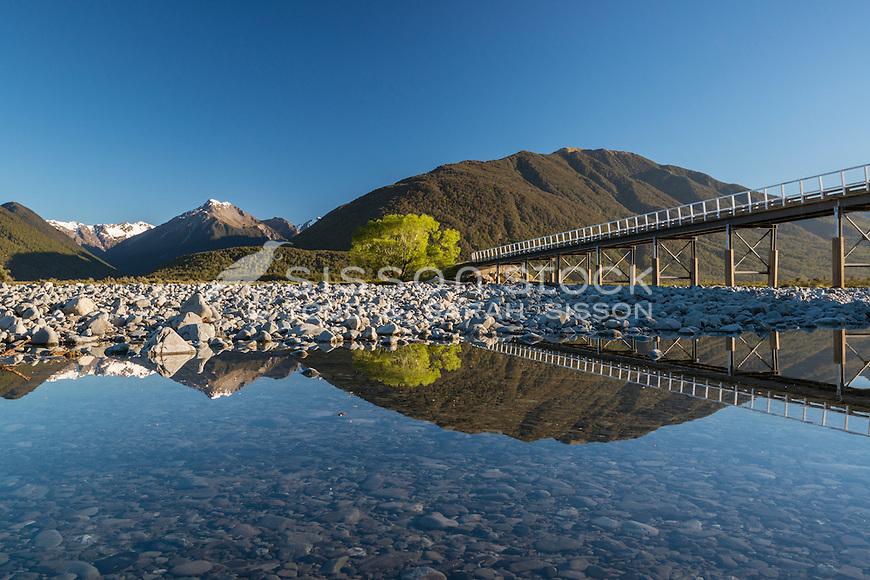 Mirror reflection Mt White Bridge, Waimakariri River, New Zealand - stock photo, canvas, fine art print