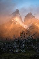 Foggy sunrise over Torres Del Paine National Park, Chile