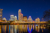 This is the most recent image of the Austin skyline from the hike and bike trail along Lady Bird Lake.  There are many new buildings along the shore line and this shows the latest this January for 2016.  You can see the latest edition right next to Frost is the Colorado building and of course cant forget the Austonian. Also you will note that stars can be seen which is something you usually can't see because of the light dome over the city.