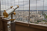 Viewing telescope on the Eiffel Tower, Paris, France,