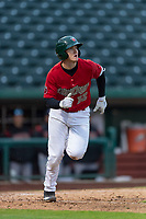Fort Wayne TinCaps Blake Hunt (12) runs to first base during a Midwest League game against the Fort Wayne TinCaps at Parkview Field on April 30, 2019 in Fort Wayne, Indiana. Kane County defeated Fort Wayne 7-4. (Zachary Lucy/Four Seam Images)