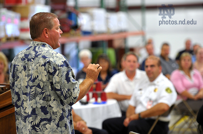 Head Football Coach Brian Kelly speaks to staff and administrators of the Business Operations division during a meeting at the Mason Services Center...Photo by Matt Cashore/University of Notre Dame