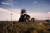 D&amp;RGW #483 with work train of tracked loader, outfit box and caboose.<br /> D&amp;RGW  s. of Antonito, CO