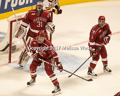 Wiley Sherman (Harvard - 25), Merrick Madsen (Harvard - 31), Clay Anderson (Harvard - 5) - The University of Minnesota Duluth Bulldogs defeated the Harvard University Crimson 2-1 in their Frozen Four semi-final on April 6, 2017, at the United Center in Chicago, Illinois.