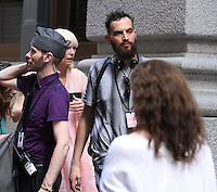 NEW YORK, NY-July 24: Sandro Kopp, Tida Swinton shooting on location for Netflix & Plan B Enterainment  film Okja in New York. NY July 24, 2016. Credit:RW/MediaPunch