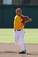 Andres Rodriguez #37 of the USC Trojans takes a throw during a game against the California Bears at Dedeaux Field on April 5, 2012 in Los Angeles,California. California defeated USC 5-4.(Larry Goren/Four Seam Images)