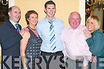 HAPPY: Getting together for theKilmoyley GAA Social in Ballygarry House, Tralee, on Friday evening were John Martin Brick, Mary Brick, Shane Brick, Declan Lovett and Grainne McCarthy, all from Kilmoyley..