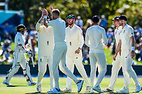 Stuart Broad and team mates celebrates the wicket of Tom Latham of the Black Caps during Day 2 of the Second International Cricket Test match, New Zealand V England, Hagley Oval, Christchurch, New Zealand, 31th March 2018.Copyright photo: John Davidson / www.photosport.nz