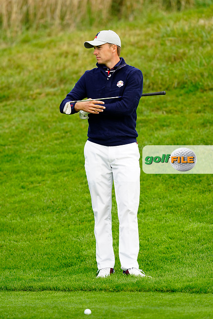 Jordan Spieth (Team USA) during the friday fourballs at the Ryder Cup, Le Golf National, Iles-de-France, France. 27/09/2018.<br /> Picture Fran Caffrey / Golffile.ie<br /> <br /> All photo usage must carry mandatory copyright credit (© Golffile | Fran Caffrey)