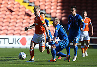 Blackpool's Callum Guy beats the challenge from Rochdale's David Perkins<br /> <br /> Photographer Stephen White/CameraSport<br /> <br /> The EFL Sky Bet League One - Blackpool v Rochdale - Saturday 6th October 2018 - Bloomfield Road - Blackpool<br /> <br /> World Copyright &copy; 2018 CameraSport. All rights reserved. 43 Linden Ave. Countesthorpe. Leicester. England. LE8 5PG - Tel: +44 (0) 116 277 4147 - admin@camerasport.com - www.camerasport.com