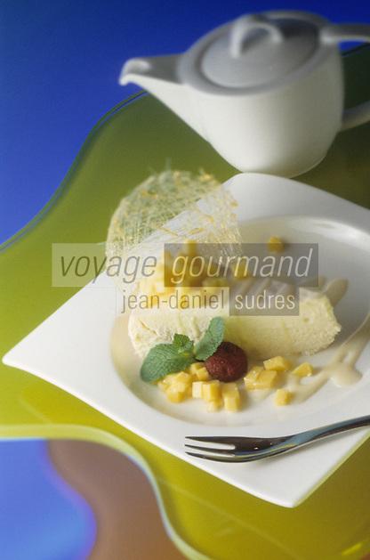 """Amérique/Amérique du Nord/USA/Etats-Unis/Vallée du Delaware/Pennsylvanie/Philadelphie : Cheesecake au tofu et dés de mangue - Recette de Mirimoto chef du """"Morimoto"""""""