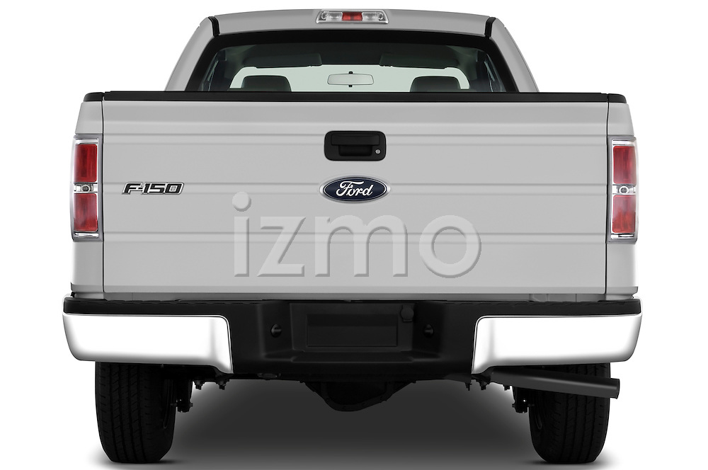 Straight rear view of a 2009 Ford F150 XL Super Cab
