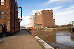 Industrial buildings by River Hull, Hull, Yorkshire, England